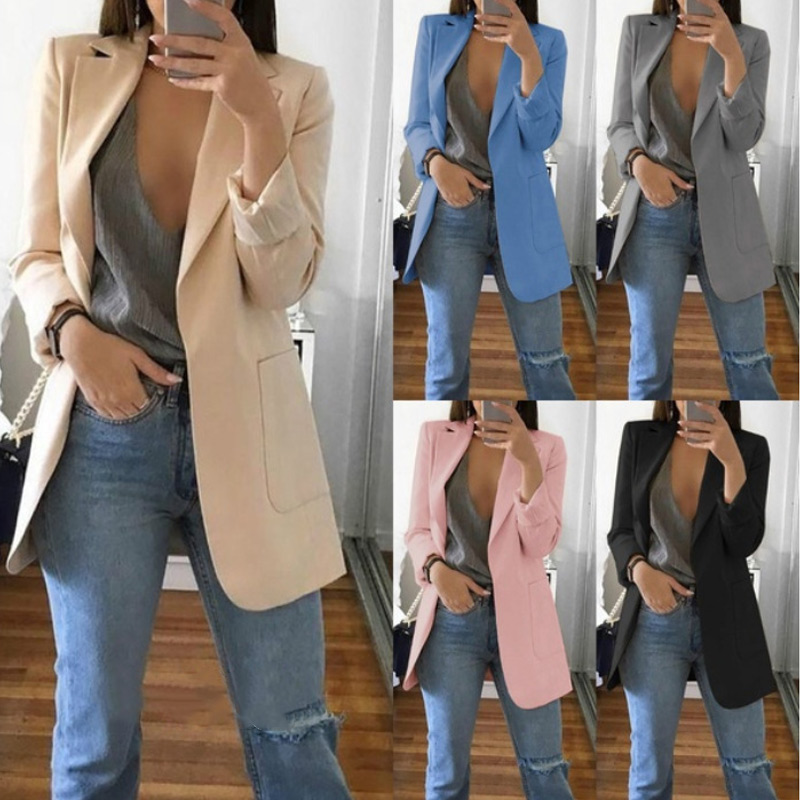 Women Autumn Cardigans Long Sleeves Slim Fit Turn-  down   Collar Female Suit   Coat   -MX8
