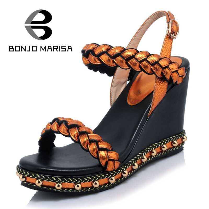 ФОТО BONJOMARSIA 2017 Genuine Leather Buckle Strap Women Open Toe Cutout Sandals Summer Wedges Platform Bordered Shoes Big size33-40