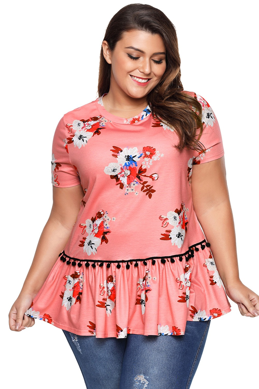a7c7eec4c0d40 Zmvkgsoa T Shirt Women Plus Size Fashion Floral Print T-Shirt Ruffle  Elegant Summer Brand Tshirts Blusa Femenina 2018 VV250862
