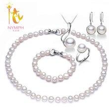 [NINFA] Perla Conjuntos de Joyas Para Las Mujeres Barroco Perlas de Agua Dulce Naturales Collar Pulsera Pendientes Anillo Colgante Wedding Party T077