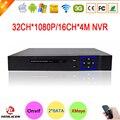 Hisiclion Chip de Blue-Ray Exterior Duas portas SATA 1080 P Full HD 32CH Vigilância Gravador de Vídeo de 32 Canais de Câmera IP NVR Frete Grátis