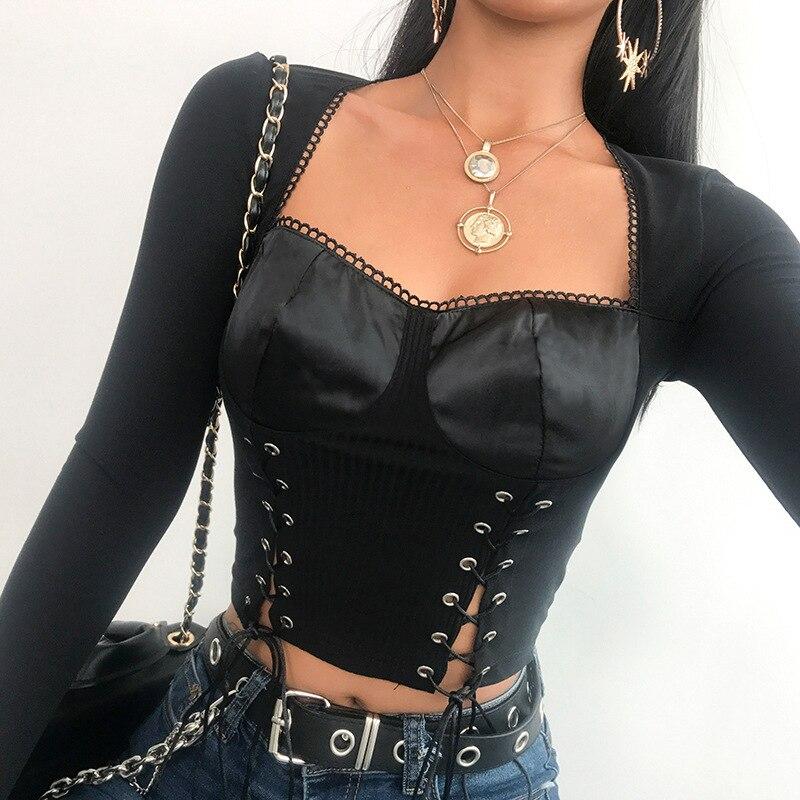 Hauts et t-shirts Vintage femmes à manches longues chemise femmes col Spuare T-shirt haut court 2019 Style Punk Bandage noir Sexy haut court