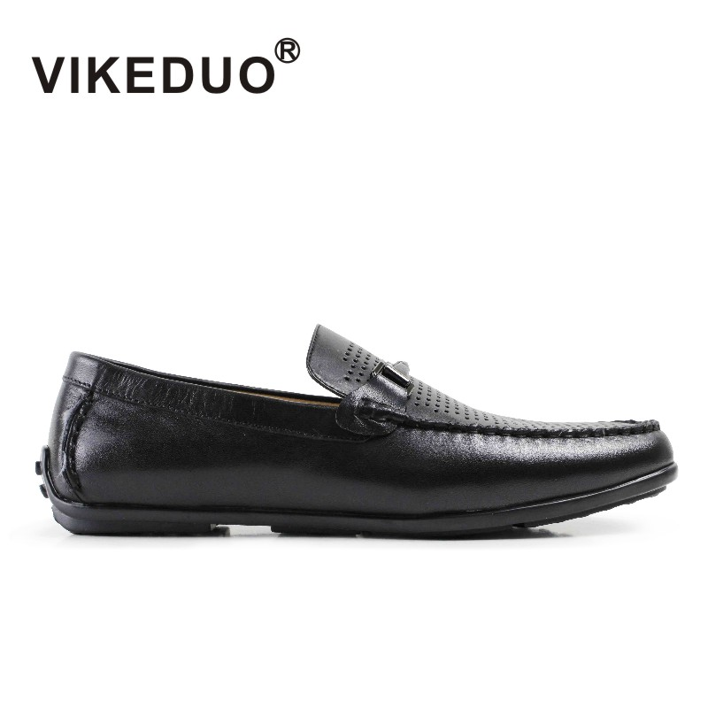 Vikeduo 2018 Handmade real comfortable Luxury Fashion brand male shoe leisure Genuine Leather Moccasin Dress Mens Casual Shoes 2017 new real superstar sale mens shoes casual flat men vintage retro custom doug luxury leather handmade fashion genuine