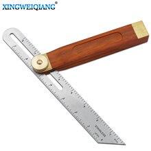 Réguas de ângulo calibres tri-bisel deslizante quadrado com alça de madeira ferramenta de medição de nível de marcação de madeira calibre transferidor