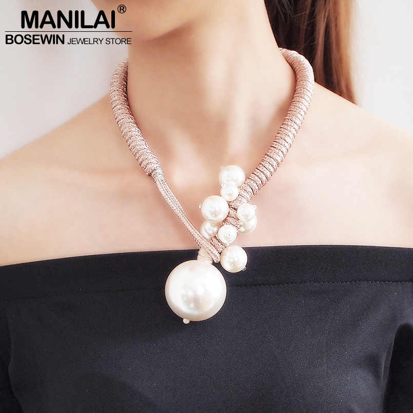 MANILAI Big Imitation Pearl Pendant Necklaces For Women Thick Rope Adjustable Statement Chokers Necklaces Jewelry 2019