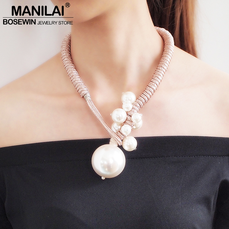 MANILAI Grand pendentif imitation perle Colliers Pour Femmes Épais Corde Réglable Déclaration collier ras du cou Bijoux 2019