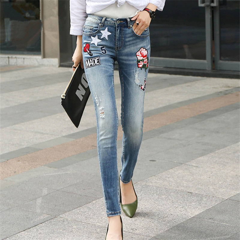 Embroidery Flower Patch Cropped Jeans Women`s Brand New Low Waist Stretch Skinny Pants For Women Denim Jean Capris inc new knight gray straight leg women s size 8 capris cropped cargo pants $59