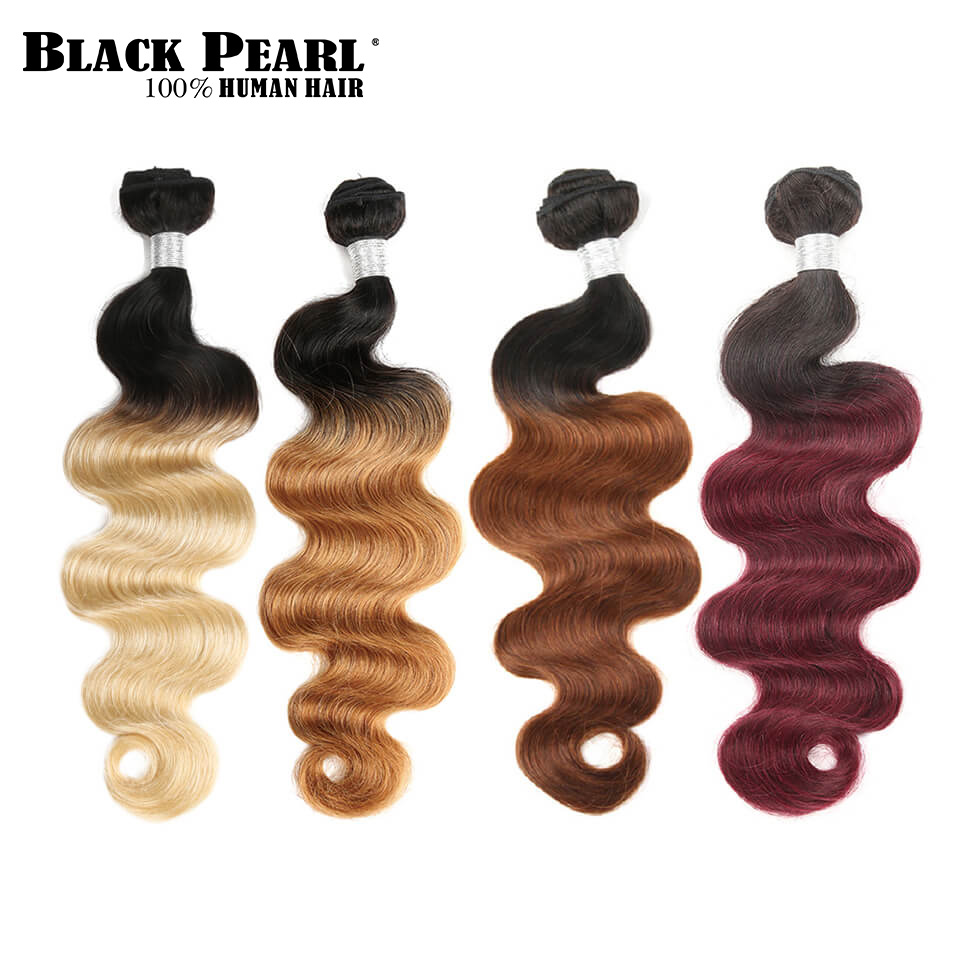 Black Pearl Pre-Colored Ombre Brazilian Hair 1/3 Bundles Body Wave Ombre Hair Weave Unprocessed Human Hair Extensions T1b613