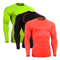 Solid Long Sleeve Quick Dry Breathable Workout Compression Workout Bodybuilding Stretch Shirts Professional Jerseys Men