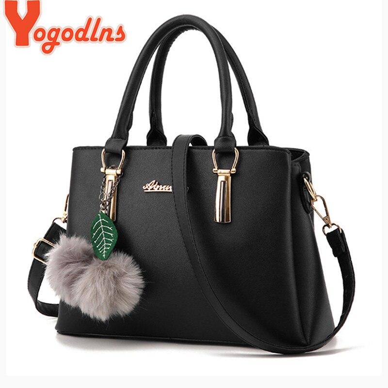 Image 2 - Yogodlns women fur ball ornaments totes zipper medium handbag hotsale lady party purse new shoulder messenger crossbody bags-in Shoulder Bags from Luggage & Bags