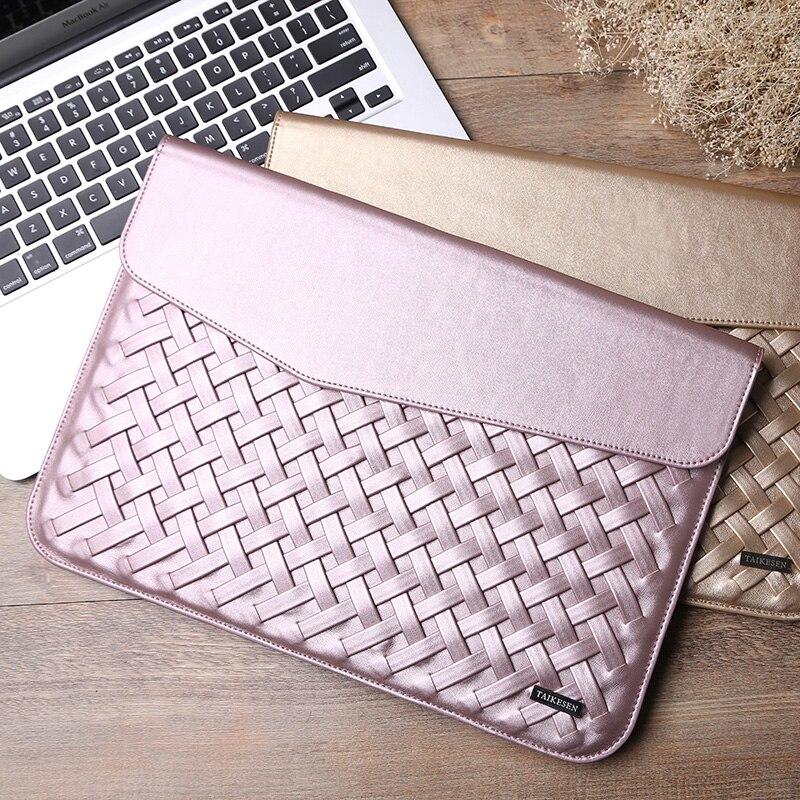 4cc9add532af Waterproof liner bag envelope weave PU leather Laptop Sleeve Tablet ...