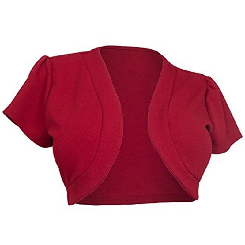 Short Sleeve Crop Jacket Women 2019 Summer Red Bolero Shrug Jacket Casaco Feminino Slim Woman Open Stitch Womens Coats Outerwear