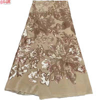 African Lace Fabric With Color Sequins High Quality Velvet Lace Fabric For Women Party Dress Soft