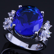 Sweet Oval Blue Cubic Zirconia White CZ 925 Sterling Silver Ring For Women V0610 alluring oval blue cubic zirconia 925 sterling silver ring for women v0419