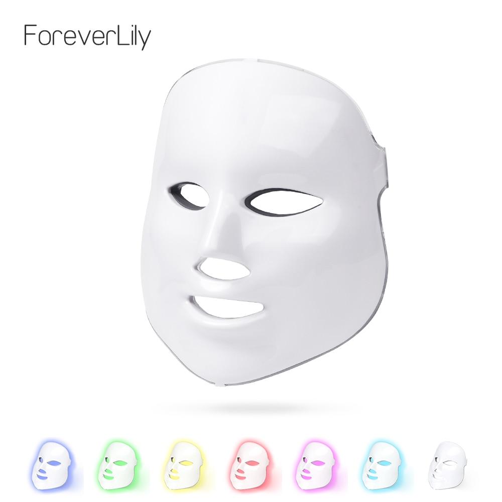 Foreverlily 7 видов цветов светодиодный маска для лица маска машина фотонной терапии света омоложения кожи лица ФДТ уход за кожей Маска красоты ...