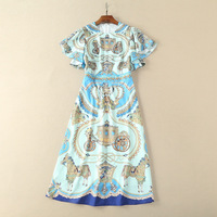 Runway Dress 2018 High Fashion Women Summer Style Dresses Lady Elegant Butterfly Sleeves Vintage Print Casual