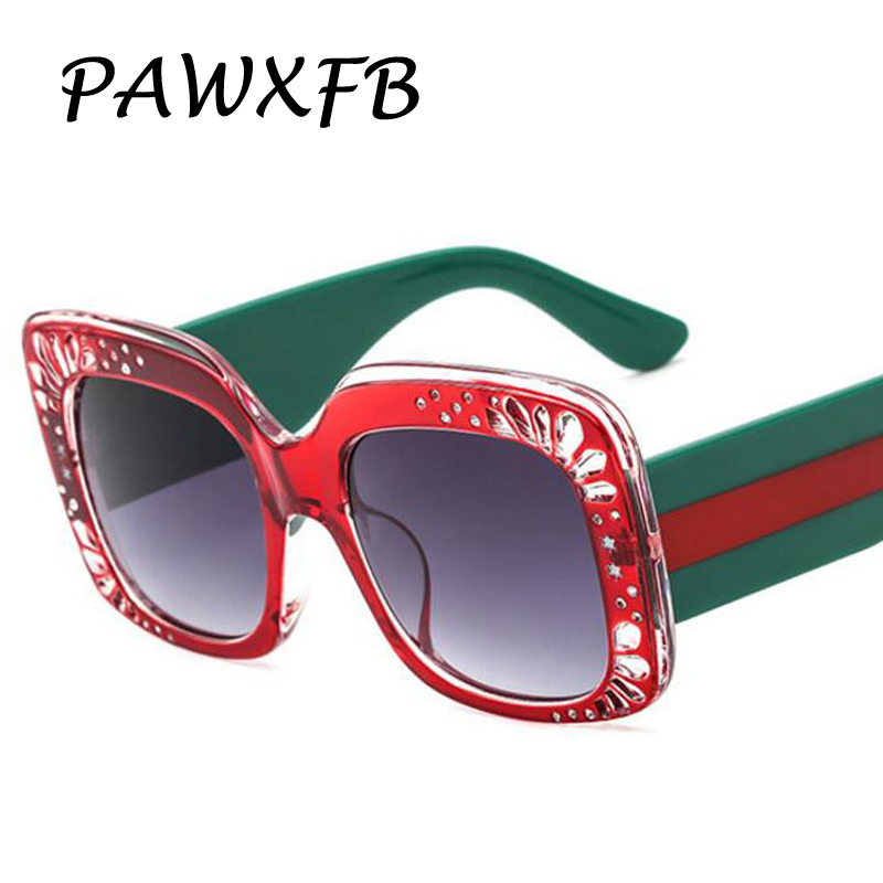 PAWXFB 2018 New Italy Brand Designer Square Sunglasses Women Fashion Sun Glasses Female Luxury Driving  Eyewear Lentes de sol