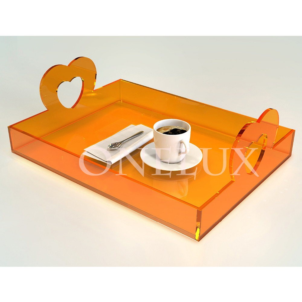 Free shipping All purpose used acrylic storage tray,lucite tea food trays Heart Shaped-Various colors