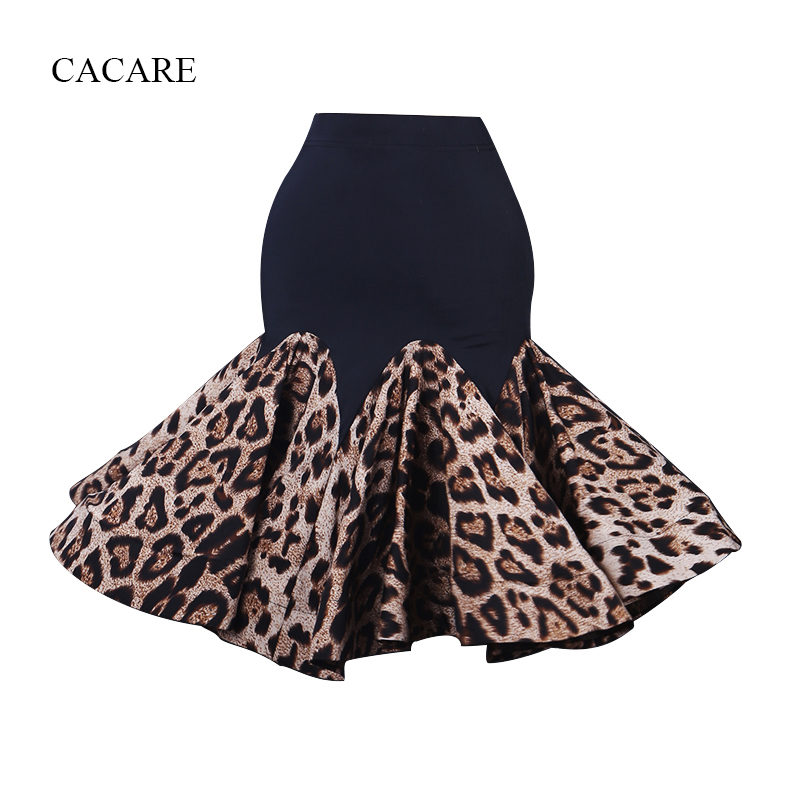 Latin Dance Skirt Women Dance Wear Exquisite Quality D0327 Leopard Print Ruffled Fluffy Hem