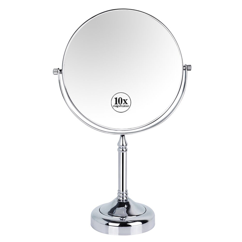 GURUN Round Desktop Cosmetic Makeup Mirror 10X Magnifying Double Sided Magnification Mirrors for Makeup Table, Chrome Polished