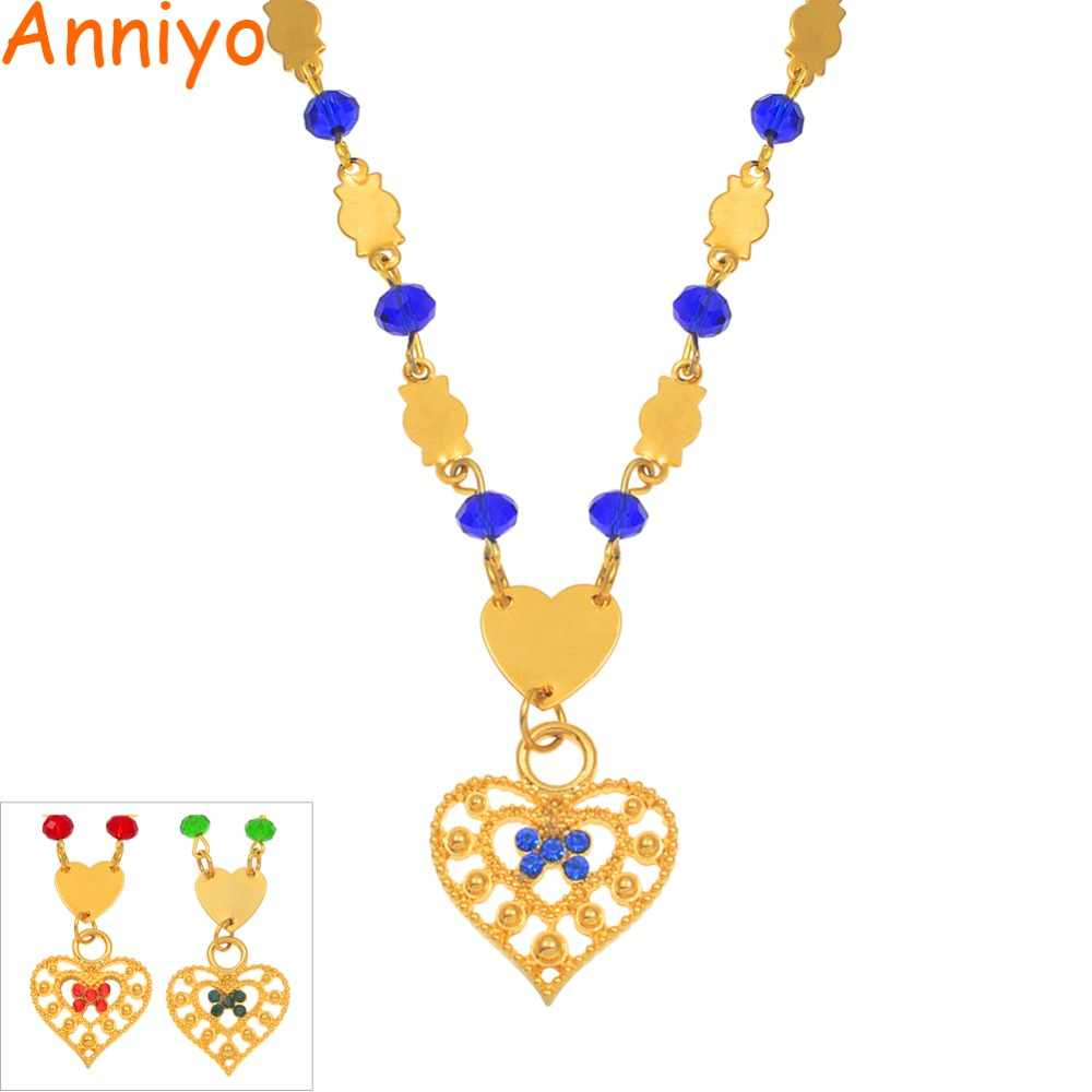 Anniyo Heart Marshall Pendant Ball Chain Beads Necklaces for Womens Gold Color Guam Micronesia Chuuk Trendy Jewelry Gift #163806