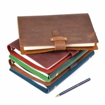 Rústico de alta Qualidade Anéis de Couro Genuíno Notebook A5 Latão Fichário Espiral Diário Sketchbook Jornal Planejador Agenda artigos de Papelaria