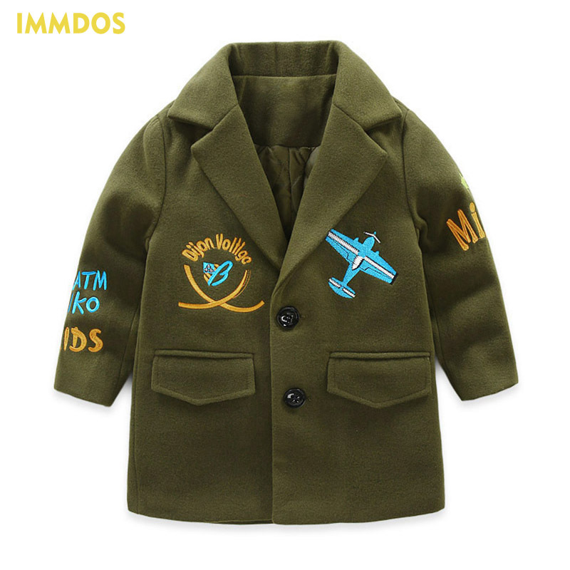 IMMDOS Winter Wool Coat For Boys Children Long Sleeve Outwear Girls Pattern Clothing Kids Cartoon Warm New Year Jacket For Girl immdos winter new arrival down jacket for boy children hooded outwear kids thick coat baby long sleeve pocket fashion clothing page 3
