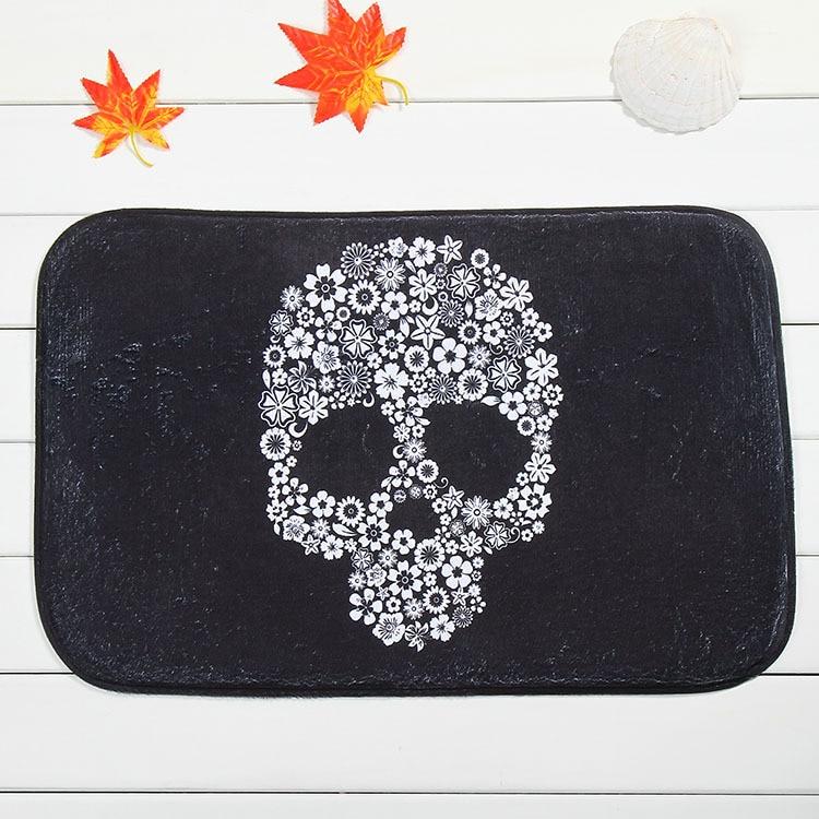 Latest design black skull home front bedroom carpet slip mats