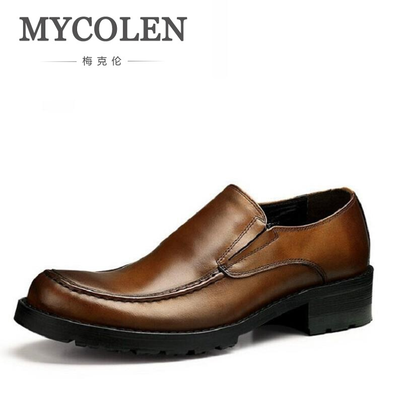MYCOLEN New Brand MenS Oxford Brogues Dress Business Leather Flat Shoes Comfortable Elevator Shoes For Men Zapatos Para Hombre