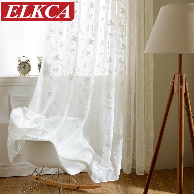 Koreanska vita broderade voile gardiner linne känna vita sheer gardiner för vardagsrum kök sovrum tulle fönster gardiner