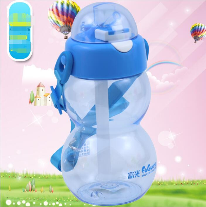2018 summer new childrens bubble bounce straw bottle baby handle kettle learn drinking bottle