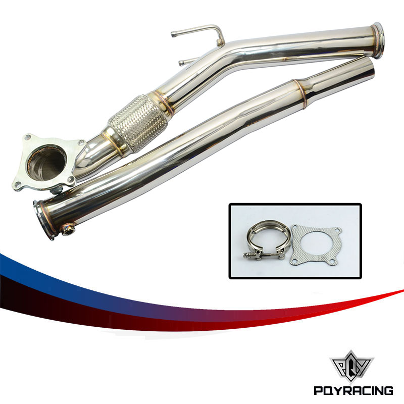 PQY RACING- Exhaust Turbo Downpipe For  06- 09 VW GOLF GTI JETTA AUDI A3 2.0T FSI Turbo Downpipe Performance MKV PQY6121 turbo discharge pipe conversion kit for vw golf gti mk5 mk6 audi tt a3 2 0t