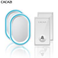 CACAZI No Battery Required Wireless Doorbell 2 Buttons 2 Receivers US EU UK Plug Self powered Waterproof Smart Home Call bell Doorbells    -