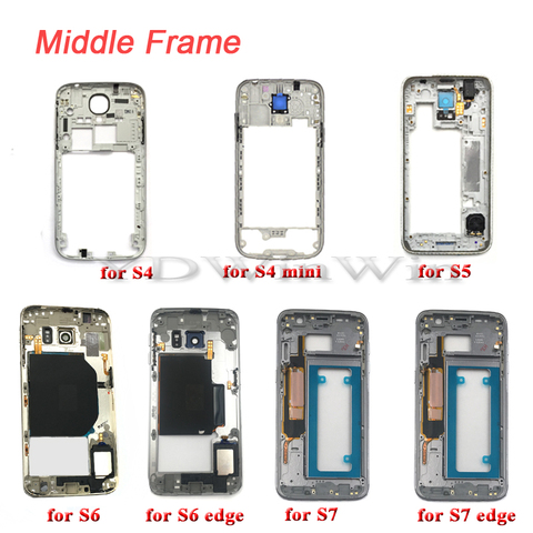 1pcs Middle Frame Housing For SAMSUNG Galaxy S4 S5 S6 S7 edge i9505 i9500 G900f G920f G925f G930f Bezel with Power Volume Button Pakistan