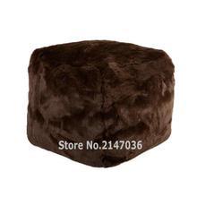 Gray Fur Anywhere Bean Cube — 16inch bean bag stool and ottomans