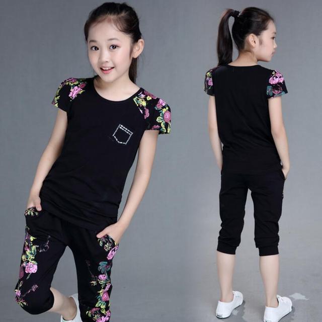 בנות 2019 קיץ תינוק בנות בגדים סטי אופנה סגנון קריקטורה מודפס T-חולצות + מכנסיים בגדים לנערות של 12 שנים
