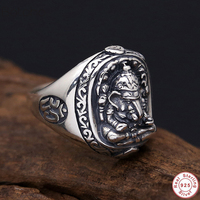 2019 Pure Solid 925 Sterling Silver Elephant Nose Rings For Men Vintage Punk Style Thailand Buddha Gods Ring Men women Jewelry