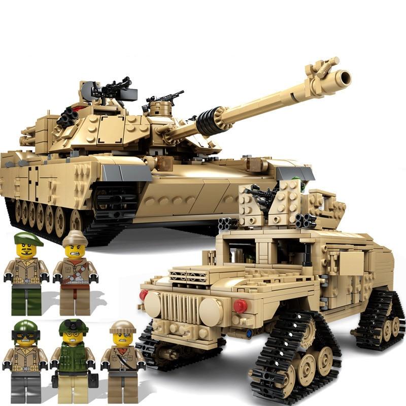 1463pcs Children s building blocks toy Compatible city military Tracked tank M1A2 DIY figures Bricks birthday
