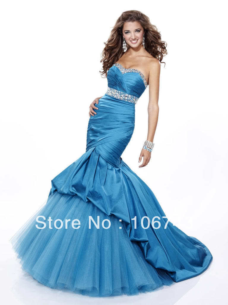free shipping vestido   dress   party 2013 maxi Sexy bride wedding vestidos Custom size long blue Mermaid tulle crystal   prom     dresses