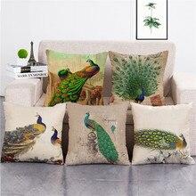 Decor wholesale wedding gift pillow cover Tropical retro green peacock house decorative cushion car home sofa case