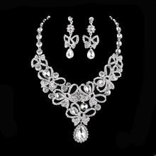Estilo de la india Sistemas de La Joyería Nupcial conjuntos de Collar pendientes de Cristal Plateado del Oro Rhinestone Para Accesorios de boda Vestido de Fiesta