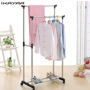 iKayaa US FR Stock Adjustable Steel Double Rail Clothes Garment Dress Hanging Rack Satnd Organizer on Wheels Shoes Rack