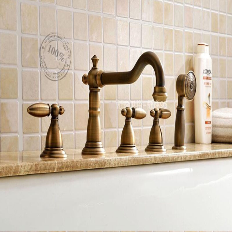 Wholesale And Retail Promotion Luxury Antique Brass Bathroom Tub Faucet Deck Mounted W/ Hand Shower Sprayer 3 Handles wholdsale and retail luxury brass