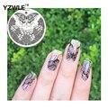 YZWLE Mariposa Diseño Nail Art Stamping Imagen Ronda Patrón de Sellos de Transferencia de Impresión de la Plantilla de la Plantilla Del Clavo de DIY Herramientas