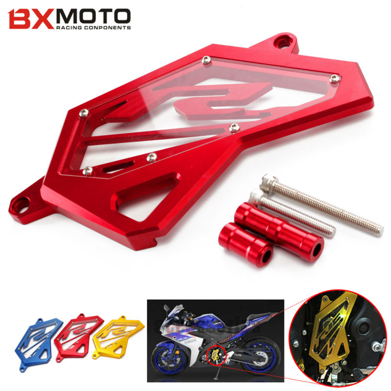 For Yamaha YZF R3 R25 2014 2015 2016 Motorcycle accessories Front Sprocket Chain Guard Cover Left Side Engine Protector Red bjmoto for yamaha mt07 2013 2014 2015 2016 fz07 2015 2016 red cnc front sprocket guard chain cover left side engine