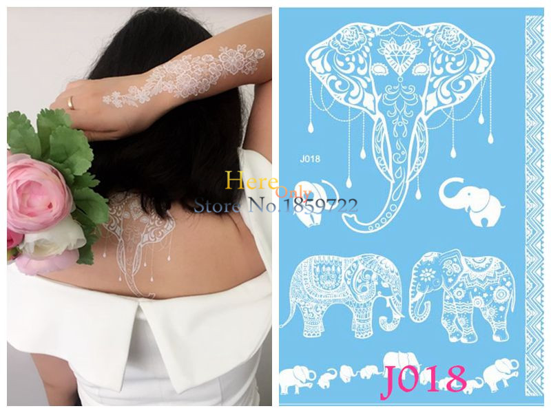 Indian Henna Tattoos Full Body: 1PC Body Art White Elephant Tattoo Indian Henna Ganesha