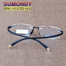 Sumondy Upscale Extreem Flexibele Tempel Randloze Leesbril Mannen Vrouwen Bril Vergrootglas Visie Presbyopic Brillen R104