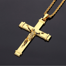 New 18K Gold Plated HipHop Metal Necklace Pendant for Men Jesus Cross Twisted Singapore Chain Classic Jewelry Punk Women