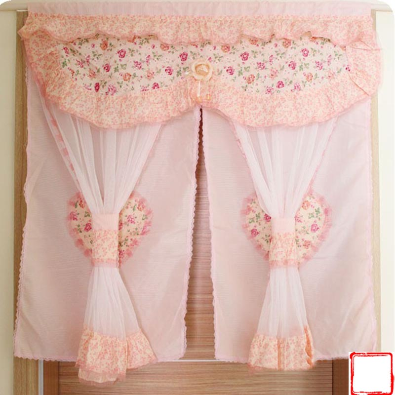 Korean style princess kitchen curtains light pink lace