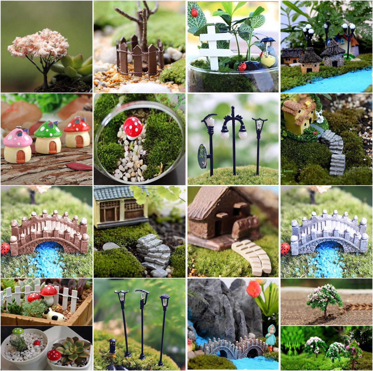 Mini Sdivaight Bending Bridge House Mushrooms Fence Craft Figurine Plant Pot Garden Ornament Miniature DIY Fairy Garden Supplies
